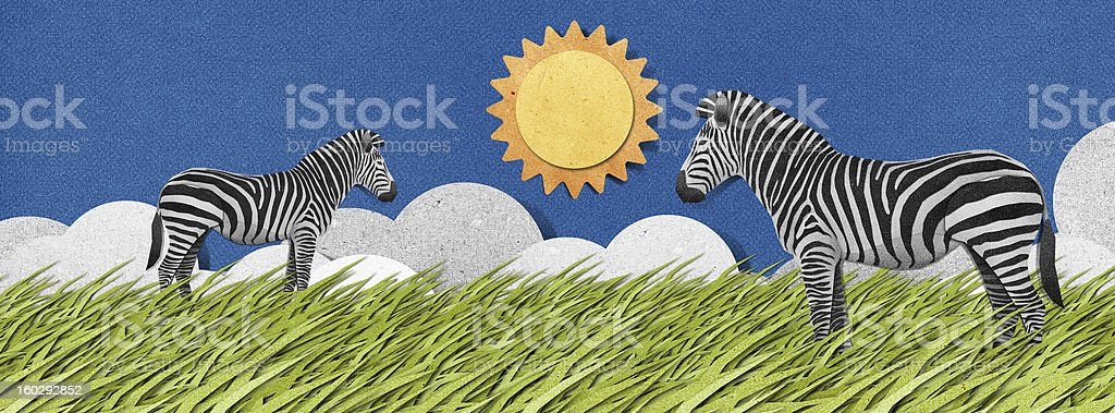 Zebra made from recycled paper background royalty-free stock vector art