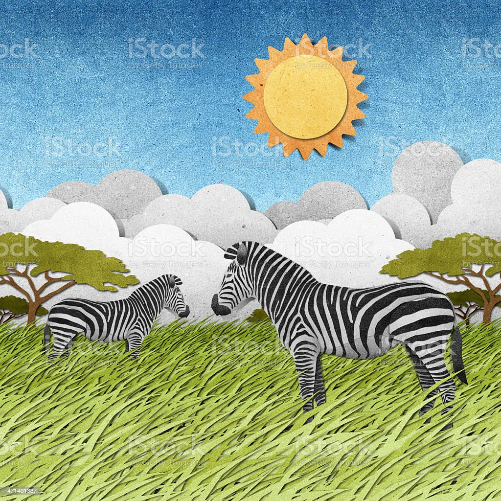 Zebra recycled paper background royalty-free stock vector art