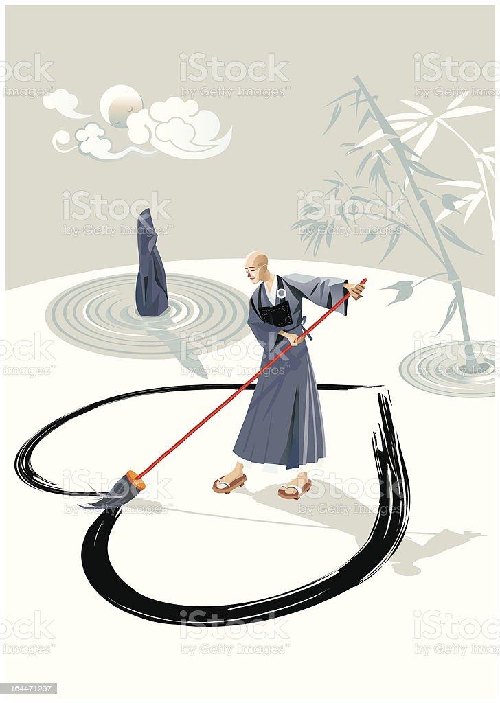 Zen Monk Painting A Heart royalty-free stock vector art