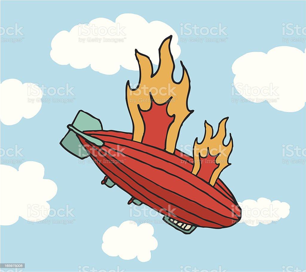 Zeppelin on fire falling royalty-free stock vector art
