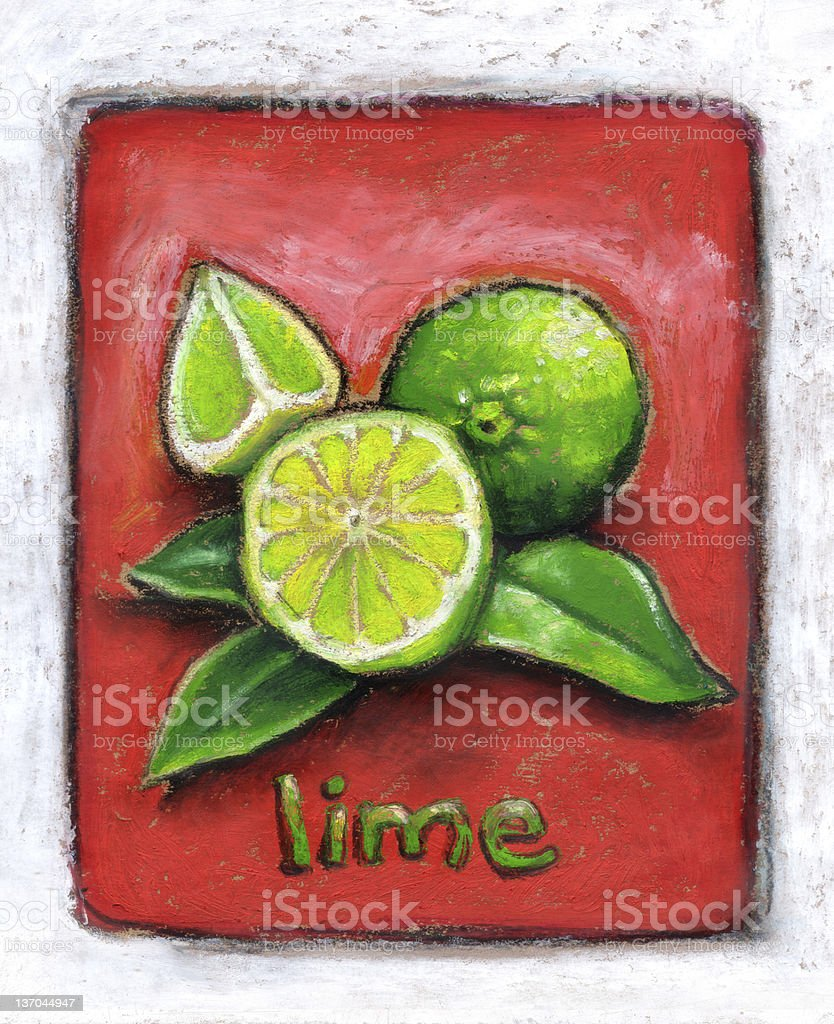 Zesty limes on red vector art illustration