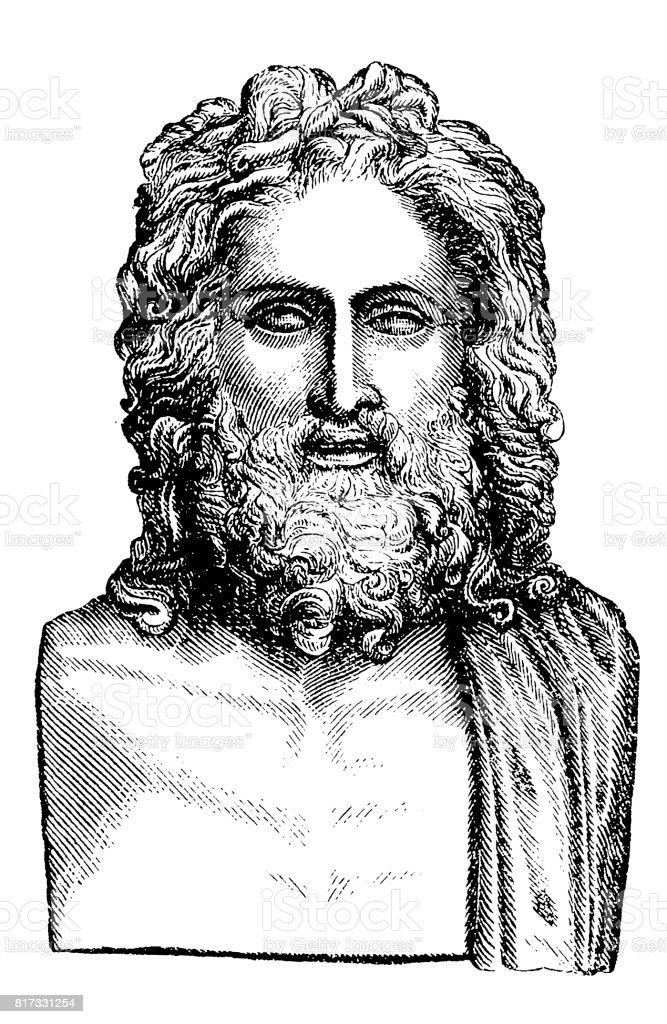 Zeus King of the gods vector art illustration