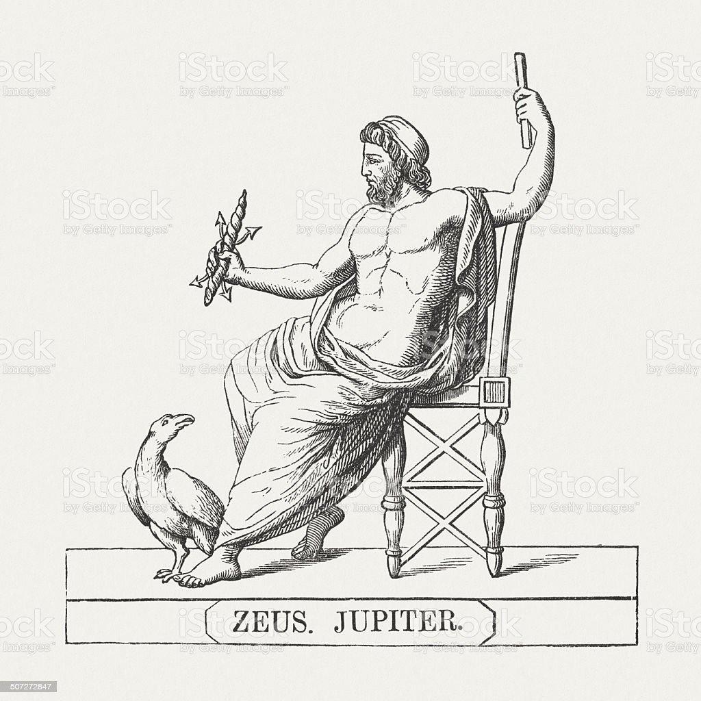Zeus, supreme god of Greek mythology, wood engraving, published 1878 vector art illustration