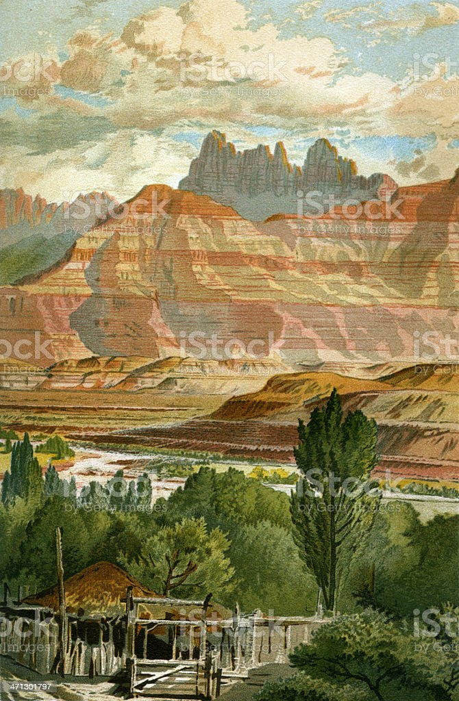 Zion Nation Park canyon floor vector art illustration