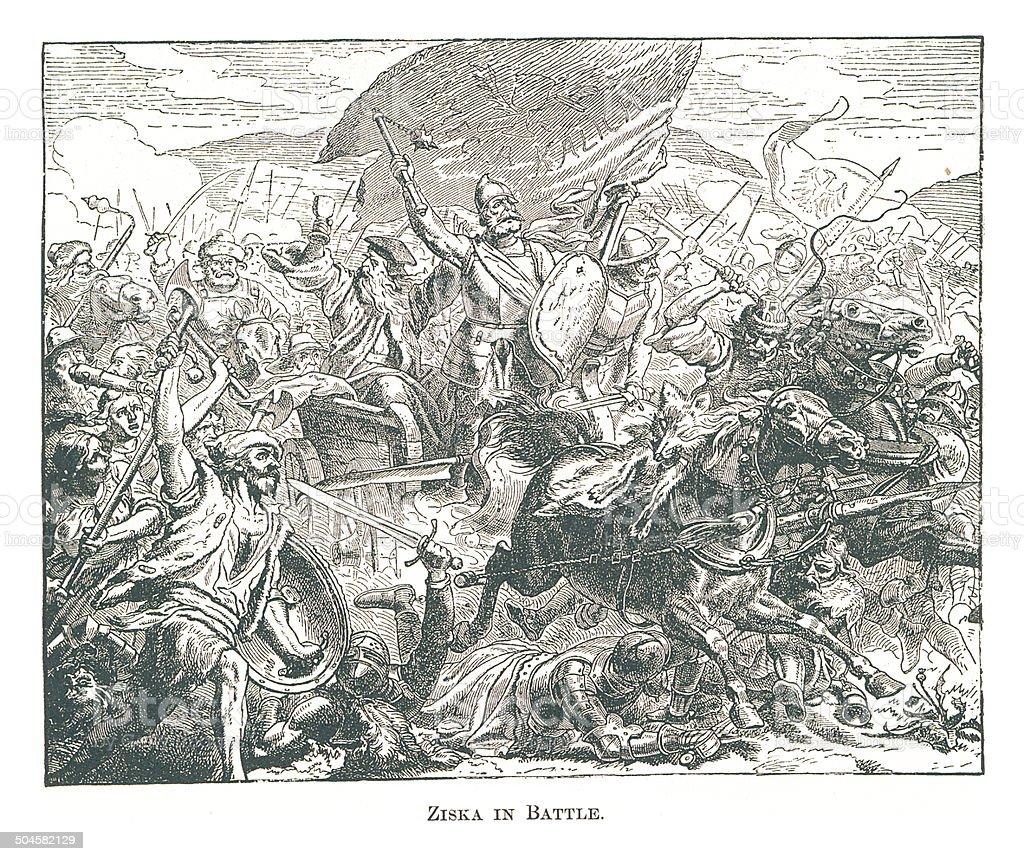 Ziska in Battle (antique engraving) royalty-free stock vector art