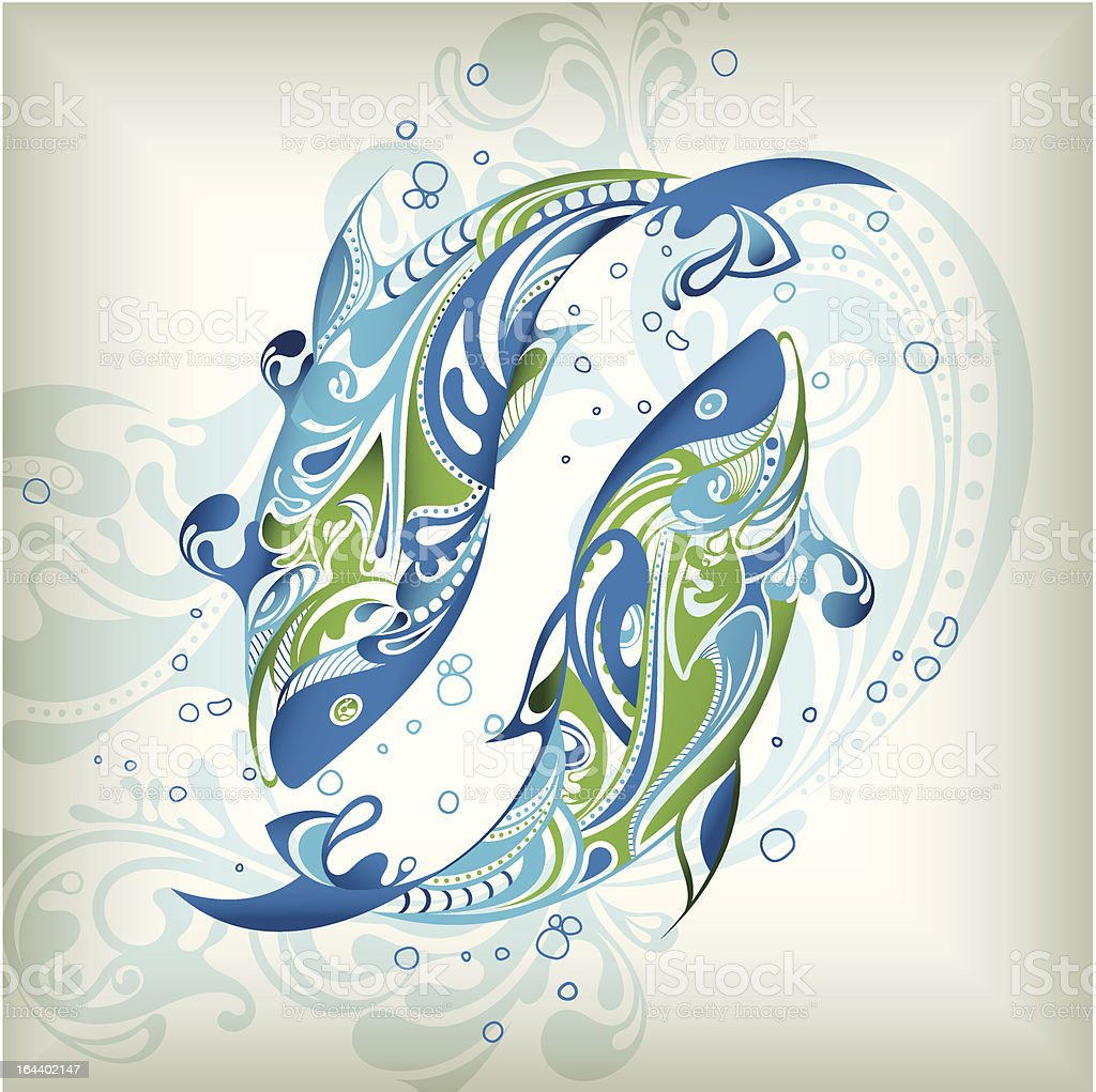 Zodiac Pisces vector art illustration