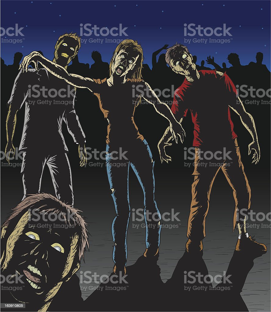 Zombie attack royalty-free stock vector art