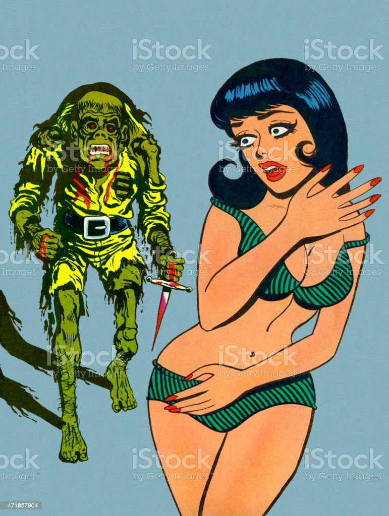 Zombie Coming After Woman in Bikini vector art illustration
