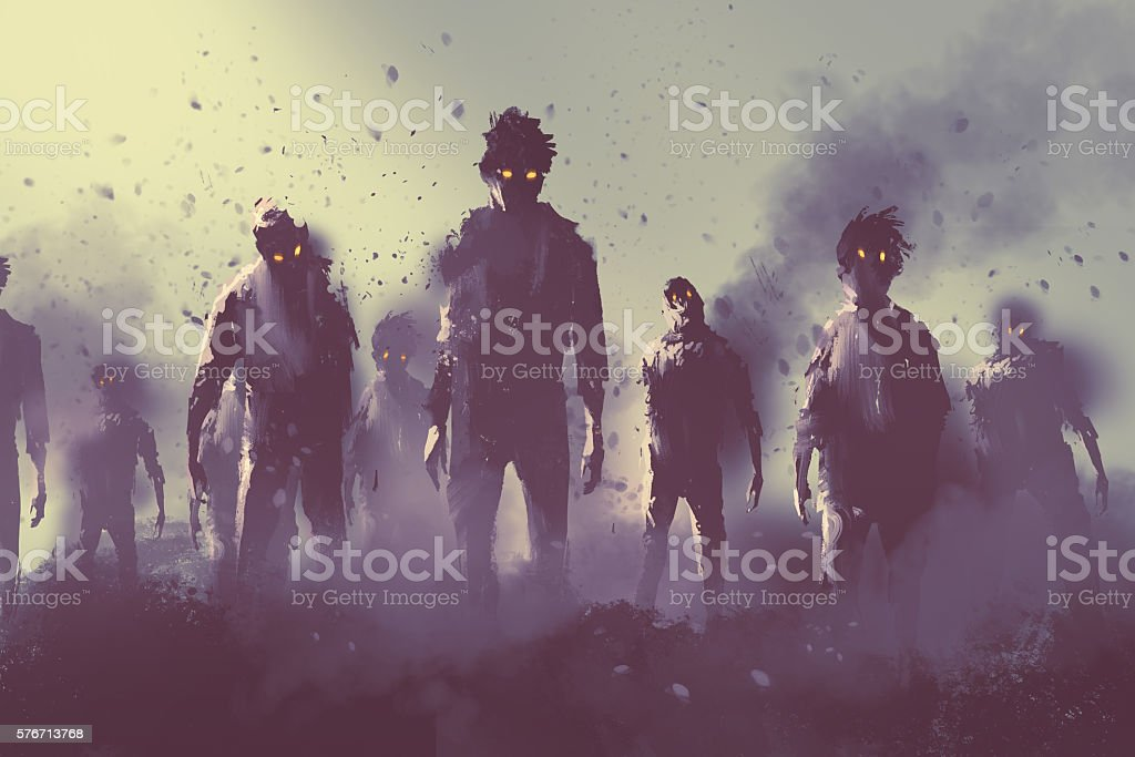 zombie crowd walking at night,halloween concept vector art illustration