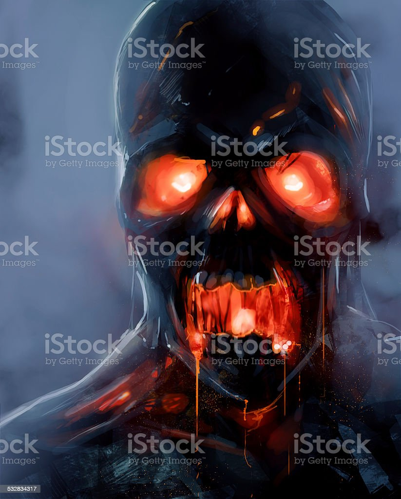 Zombie face vector art illustration
