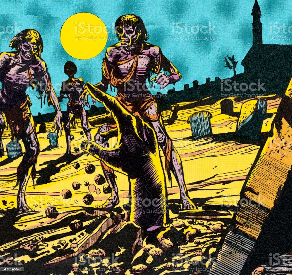 Zombie hand vector art illustration