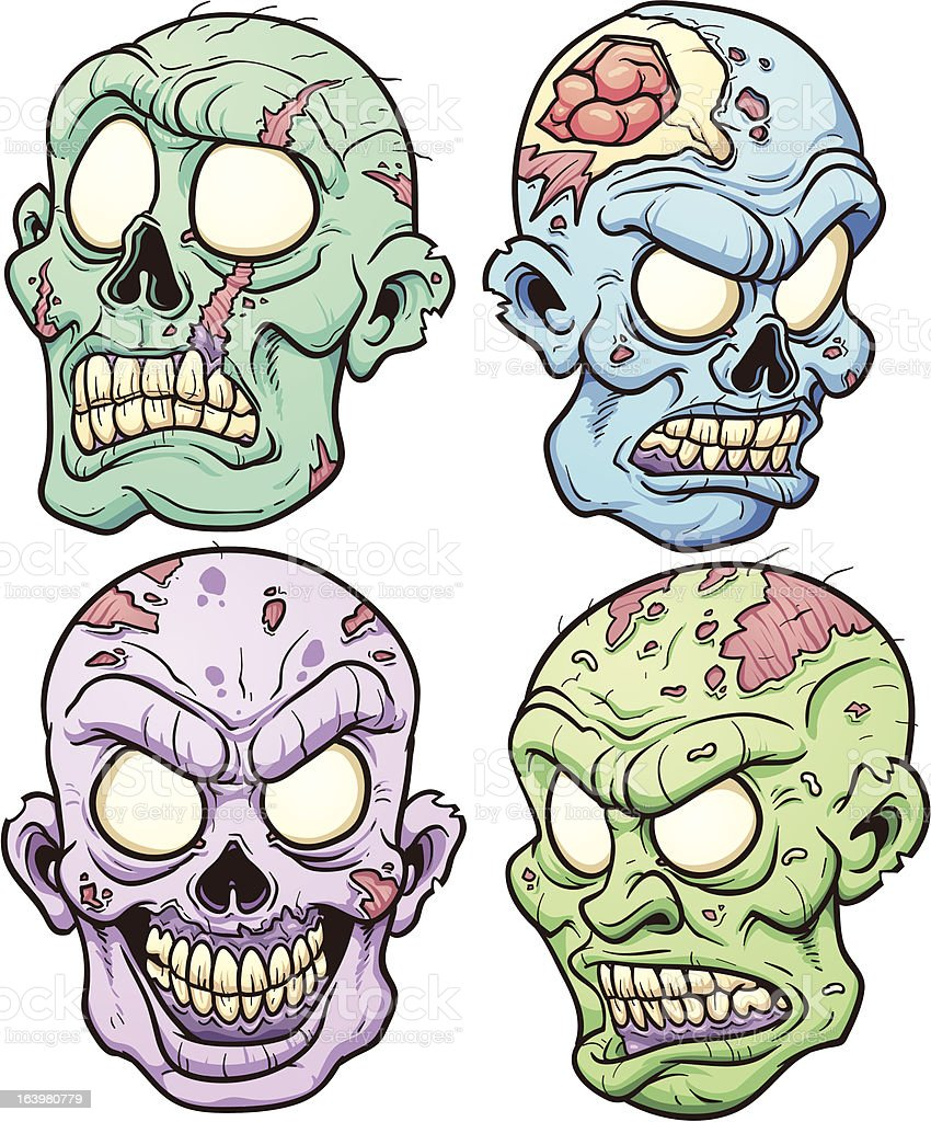 Zombie heads royalty-free stock vector art