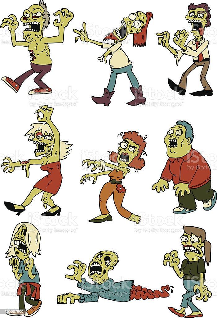 zombie horde vector art illustration