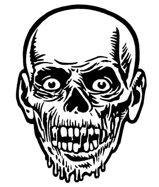 Black And White Zombie Face Clip Art, Vector Images ...