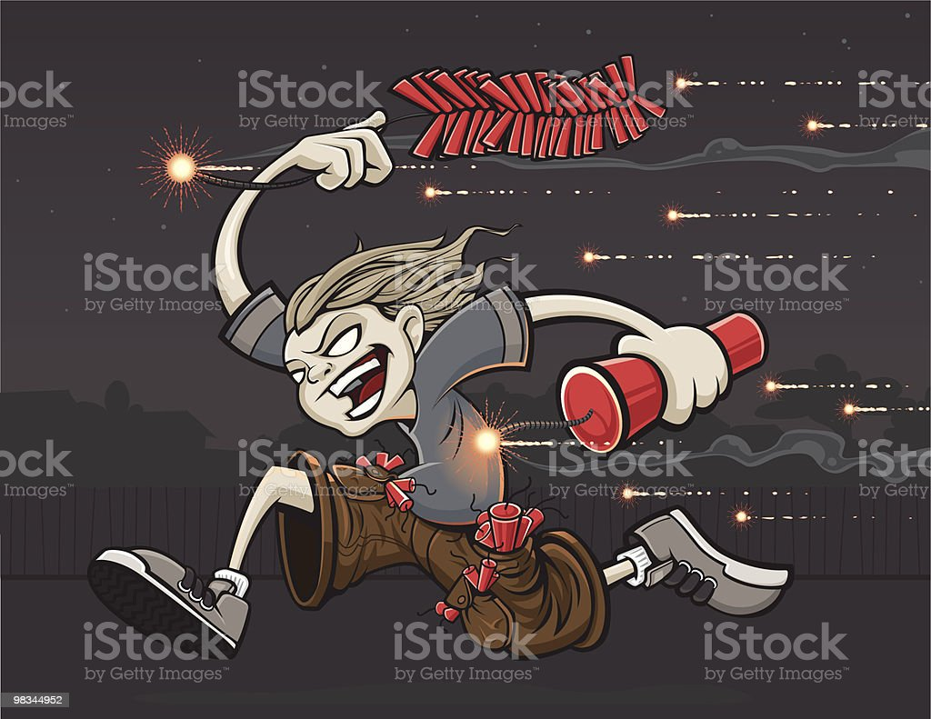 Zombie Kid Running With Fireworks vector art illustration