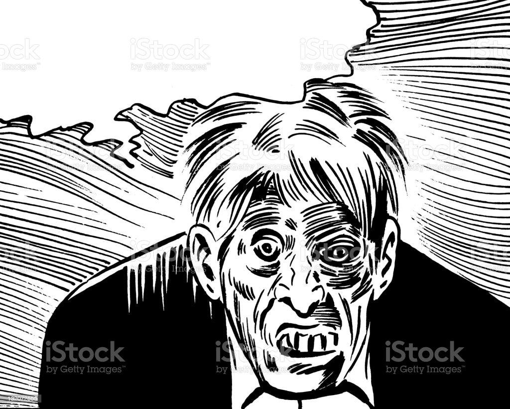 Zombie Man With Speech Balloon vector art illustration
