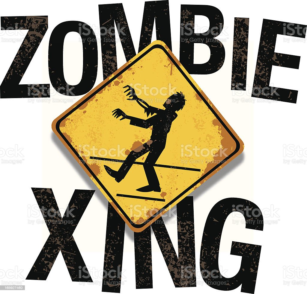 zombie xing text vector art illustration