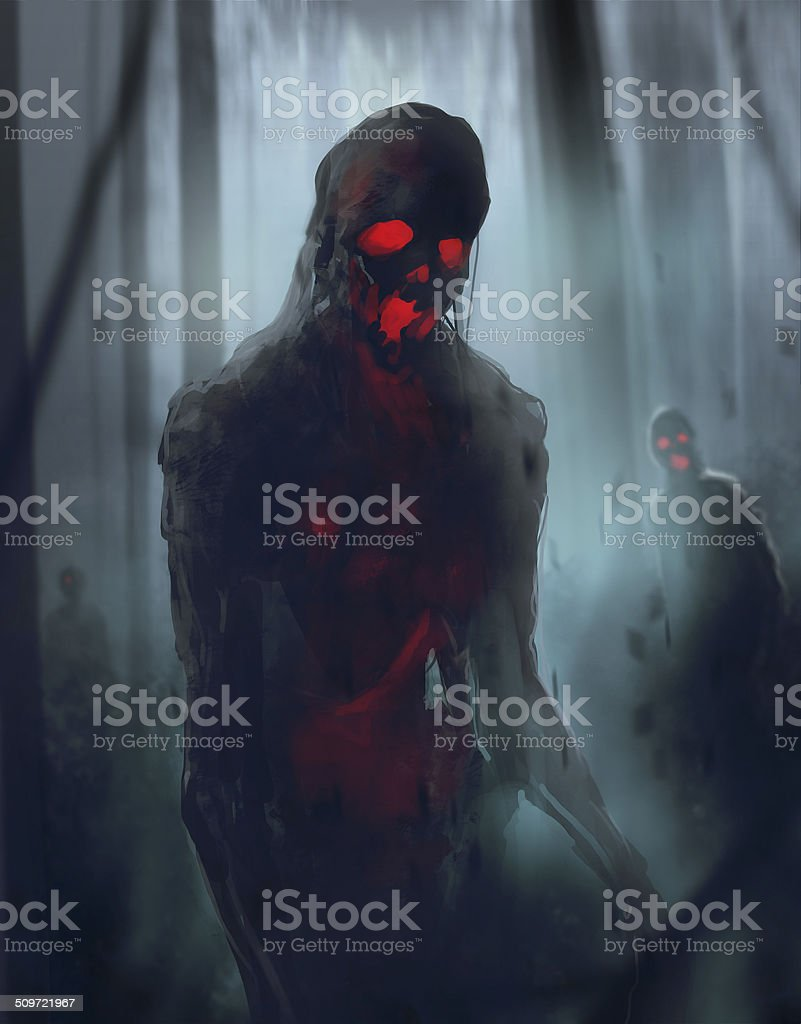 Zombies walking vector art illustration