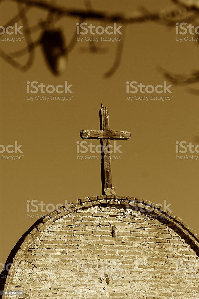CROSS ON OLD MISSION royalty-free stock photo