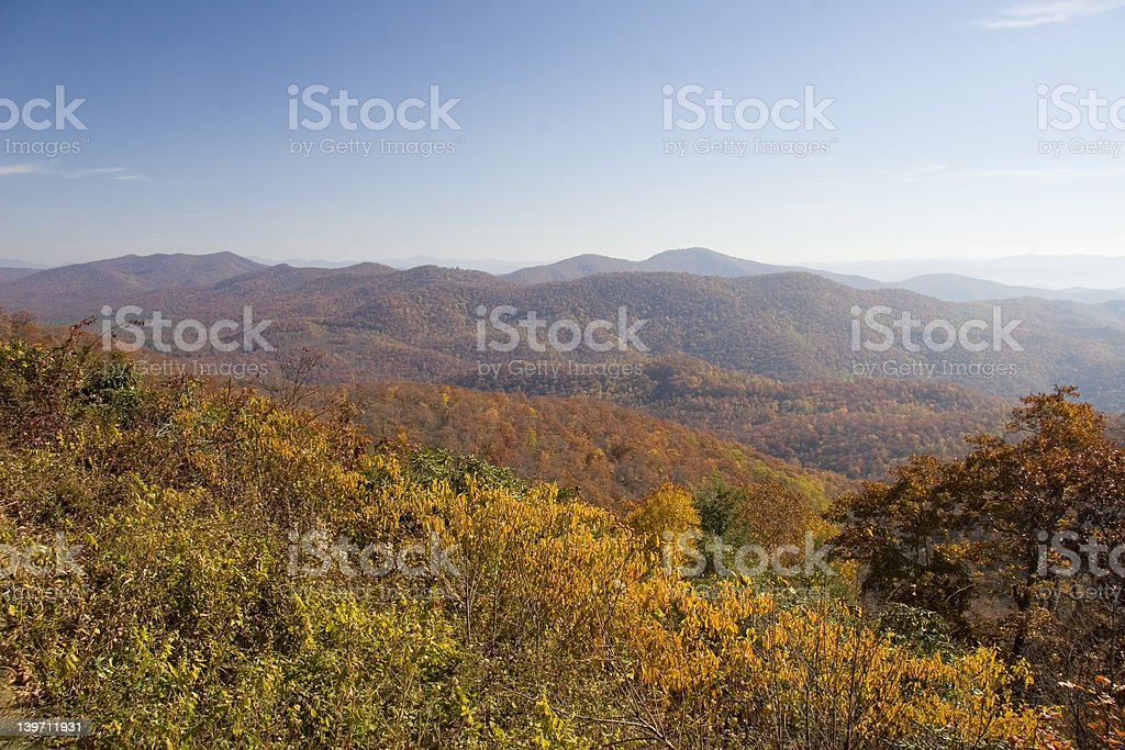 BLUE RIDGE PARKWAY VIEW FROM OVERLOOK royalty-free stock photo