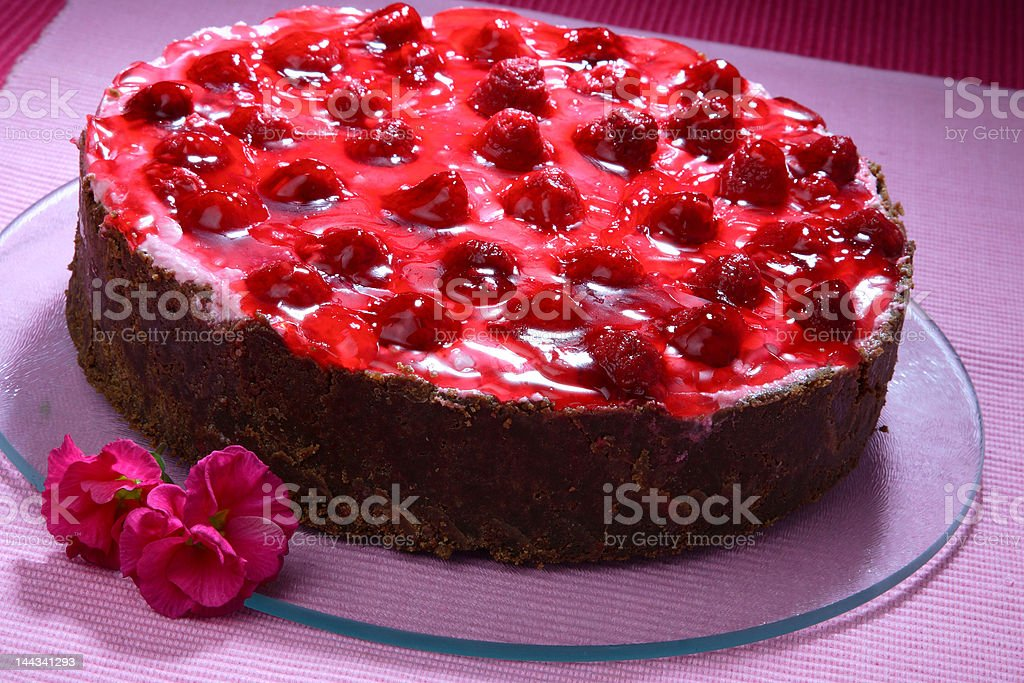 RASPBERRY CAKE WITH BISCUIT royalty-free stock photo