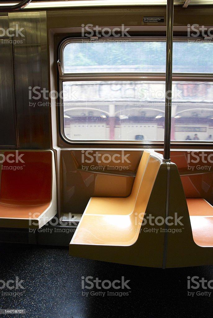 EMPTY NEW YORK SUBWAY SEATS stock photo