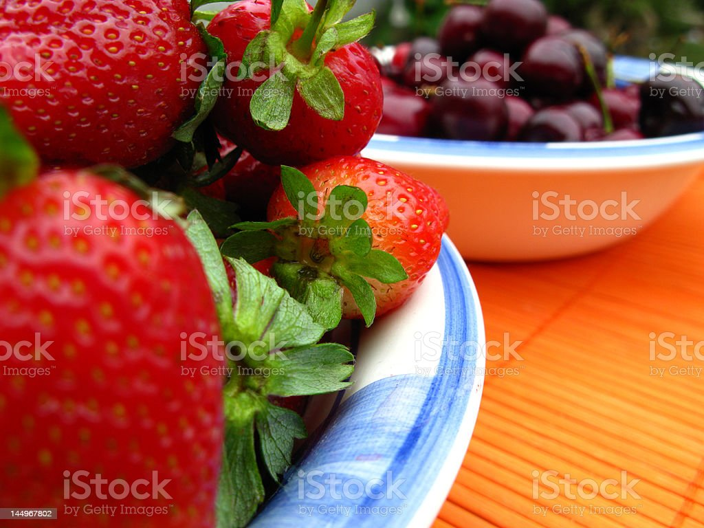 STRAWBERRY AND CHERRYS royalty-free stock photo