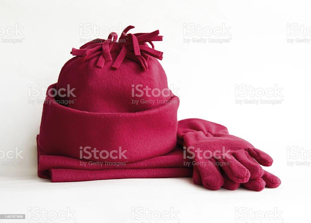 Шапочка, шарф и перчатки. stock photo