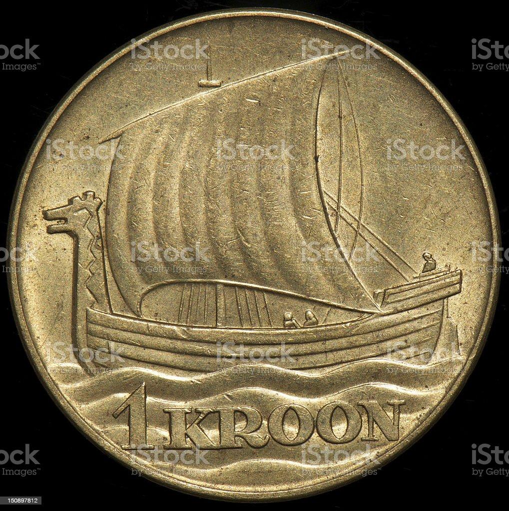 ESTONIAN COIN 1 KROON 1934 VIKING SHIP royalty-free stock photo