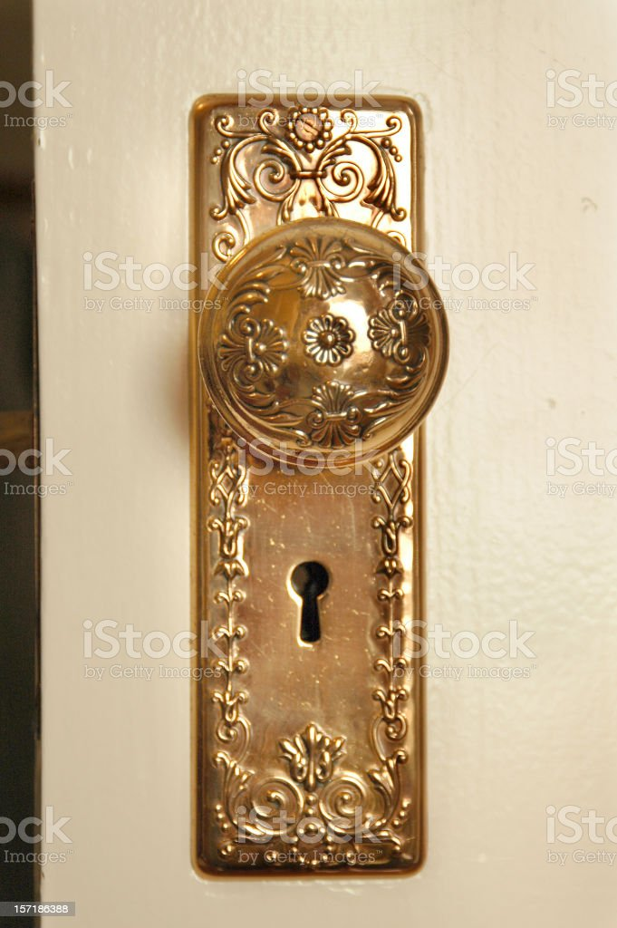 COPPER DOOR KNOB royalty-free stock photo