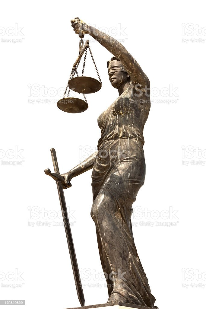 Lady Justice, cut out on white background stock photo