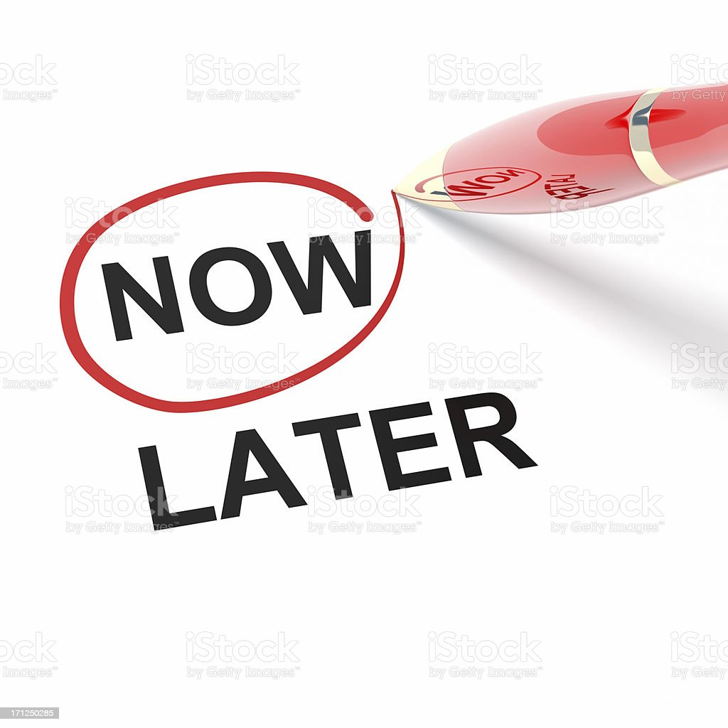 NOW LATER stock photo