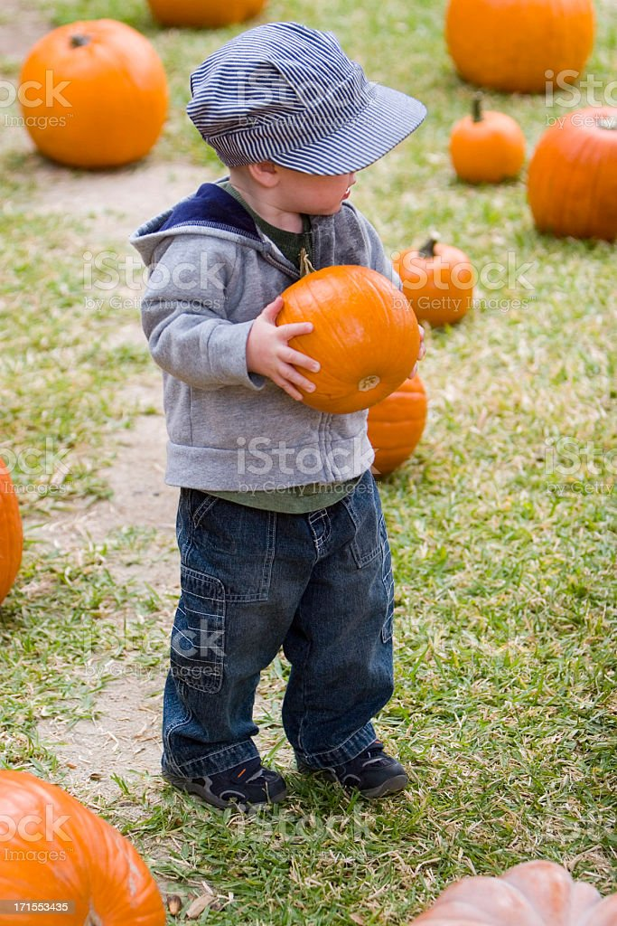 YOUNG BOY HOLDS PUMPKIN #2 royalty-free stock photo