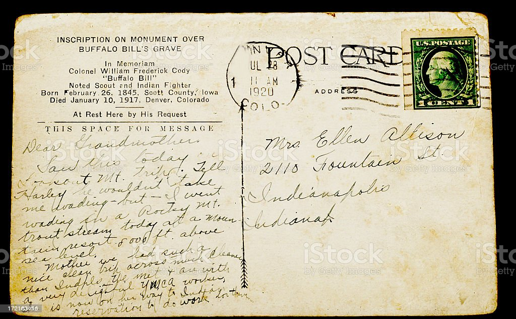 VINTAGE POSTCARD DATED 1920 royalty-free stock photo
