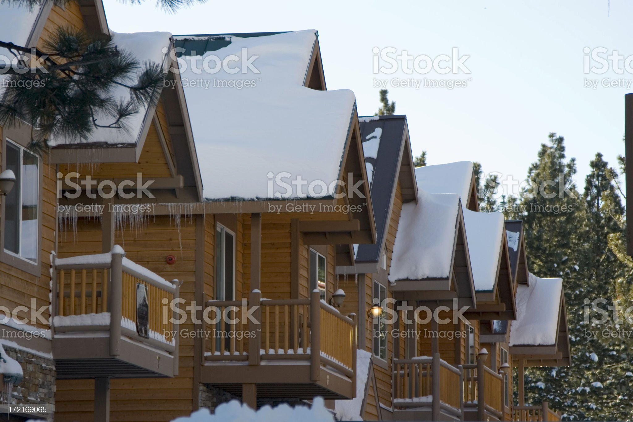 SNOWY CABINS royalty-free stock photo