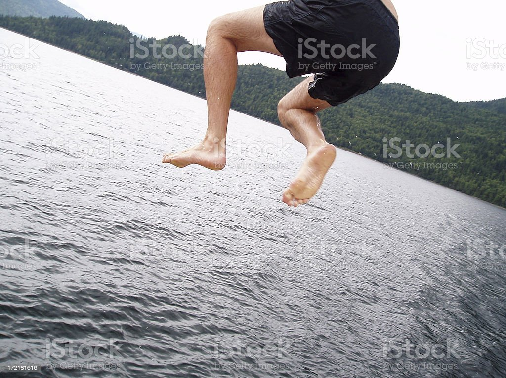 JUMP (into Shuswap Lake) stock photo