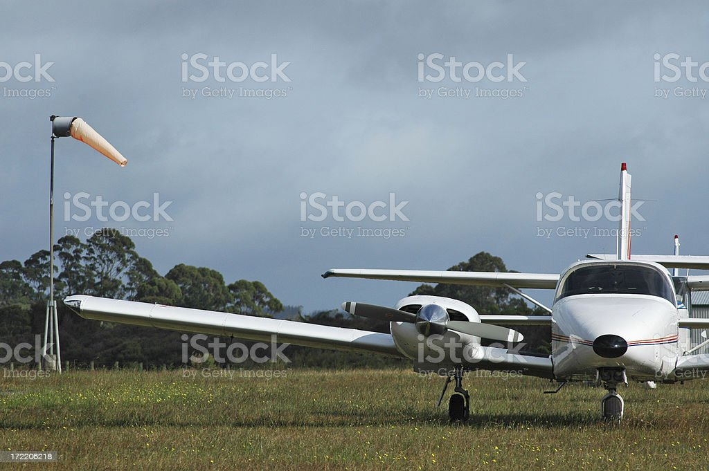 WINDSOCK & PLANE ON RURAL AIRFILED royalty-free stock photo