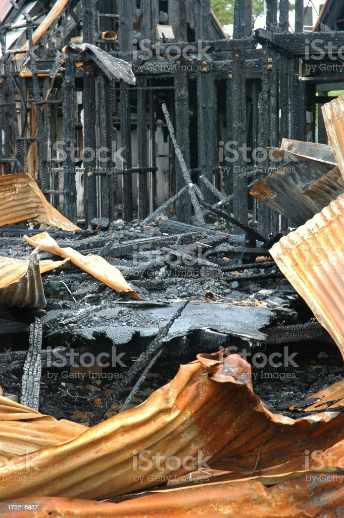 FIRE DESTROYED  RUSTED BUILDING stock photo