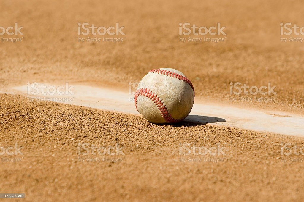 BASEBALL ON PITCHERS MOUND royalty-free stock photo