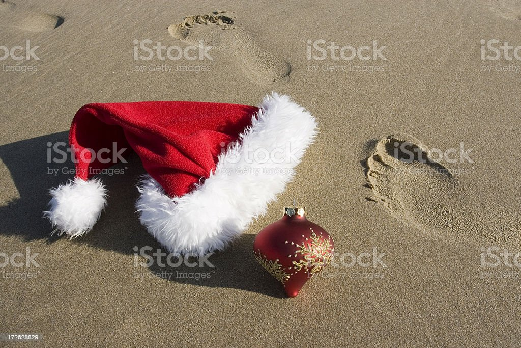 SANTA GOES TO THE BEACH stock photo