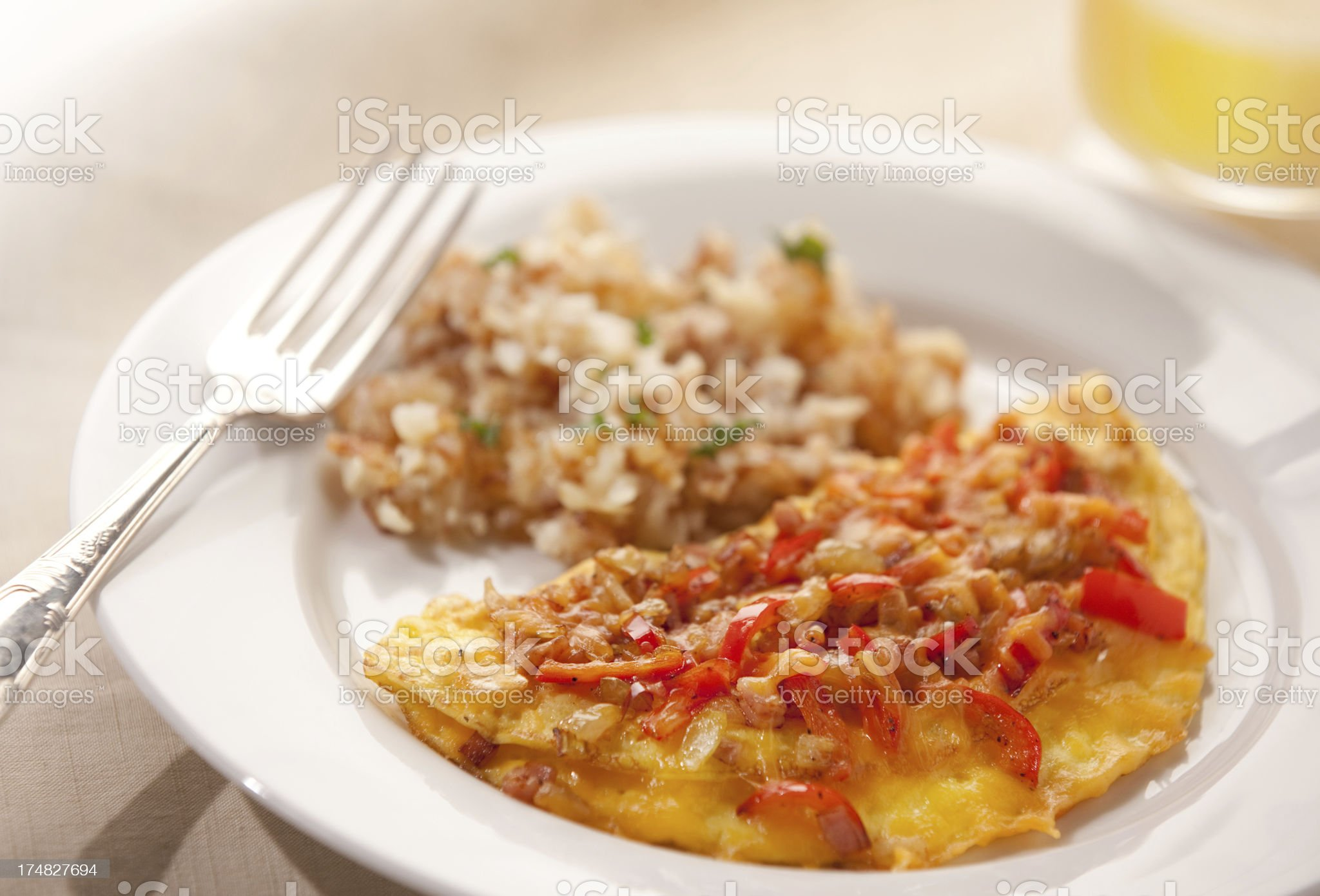 OMELET WITH CHEESE AND PEPPERS royalty-free stock photo
