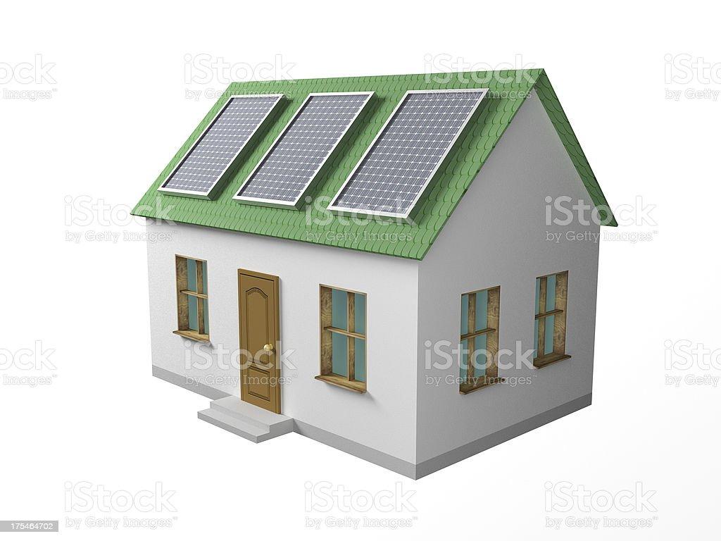 дом с солнечными батареями stock photo
