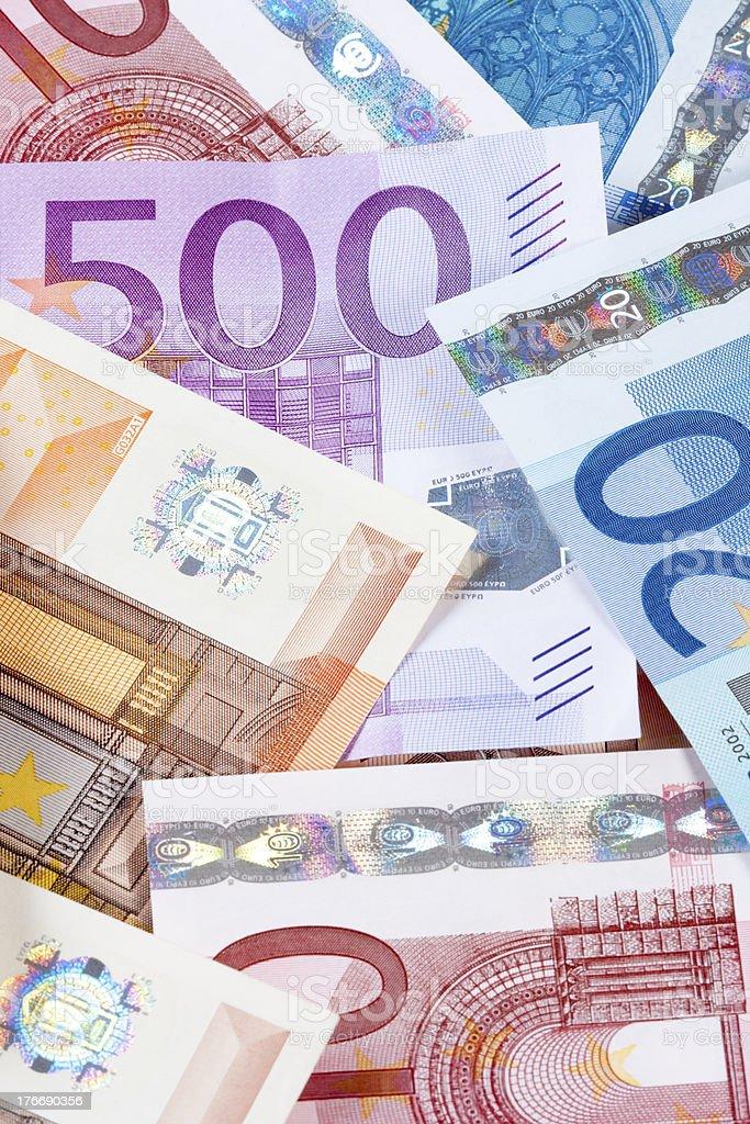 CLOSEUP OF EURO - EUROPEAN UNION BANKNOTES royalty-free stock photo