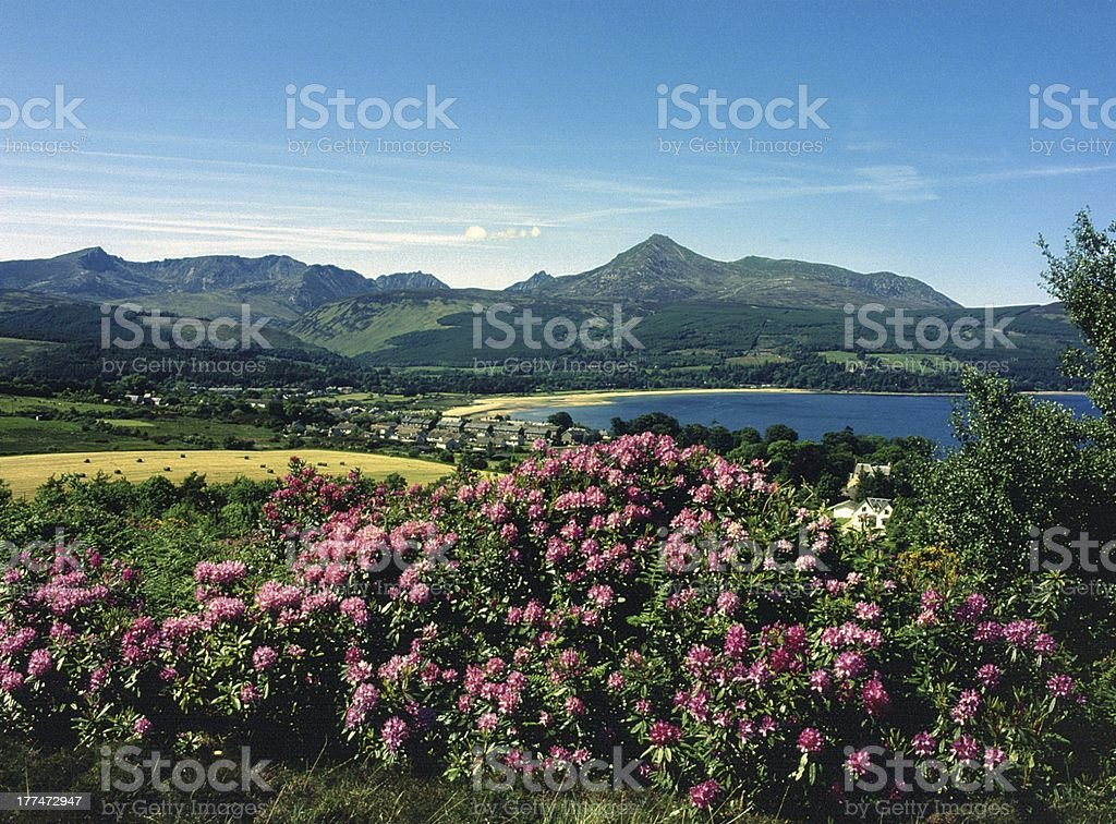 ARRAN MOUNTAINS FROM BRODICK BAY stock photo