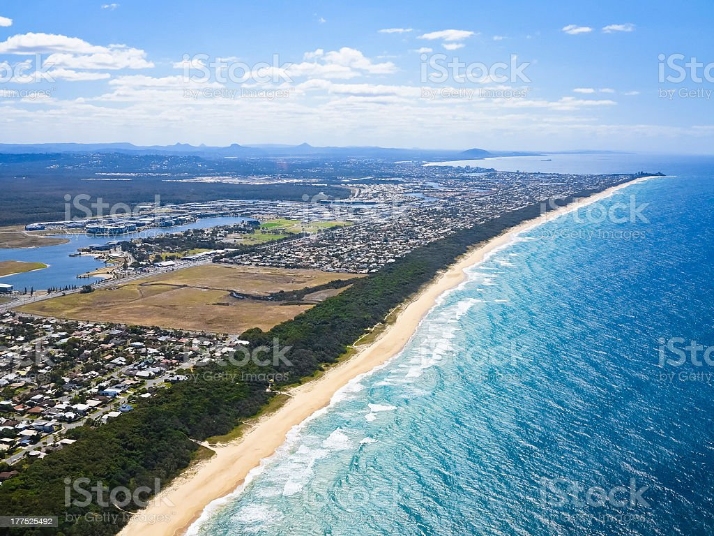 AERIAL VIEW OF THE SUNSHINE COAST stock photo