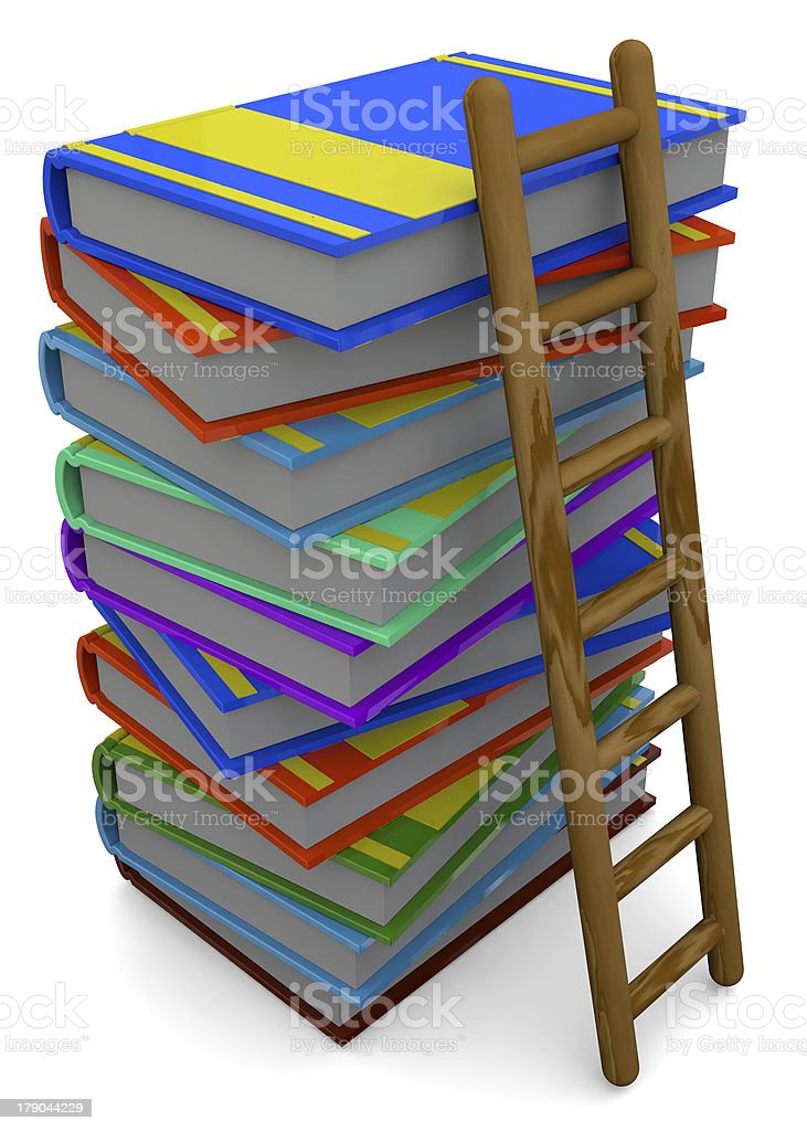 BOOK AND LADDER - 3D royalty-free stock photo