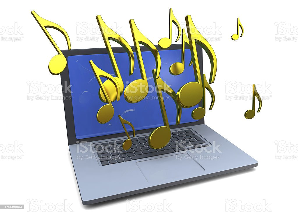 COMPUTER AND MUSIC - 3D stock photo