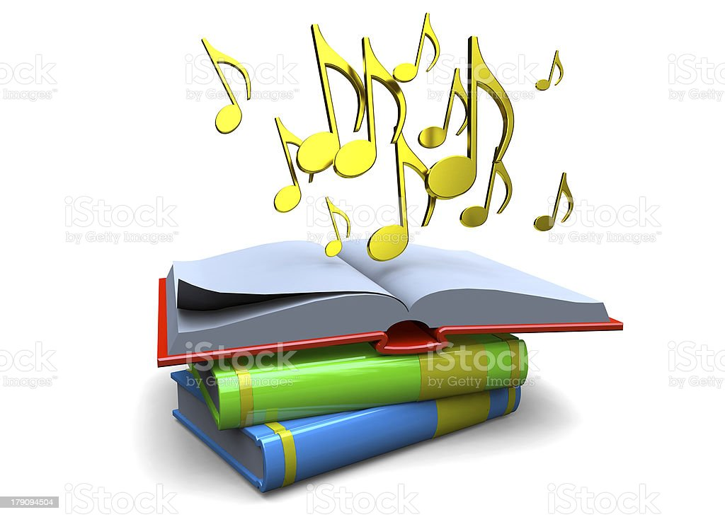 BOOK AND MUSIC - 3D stock photo