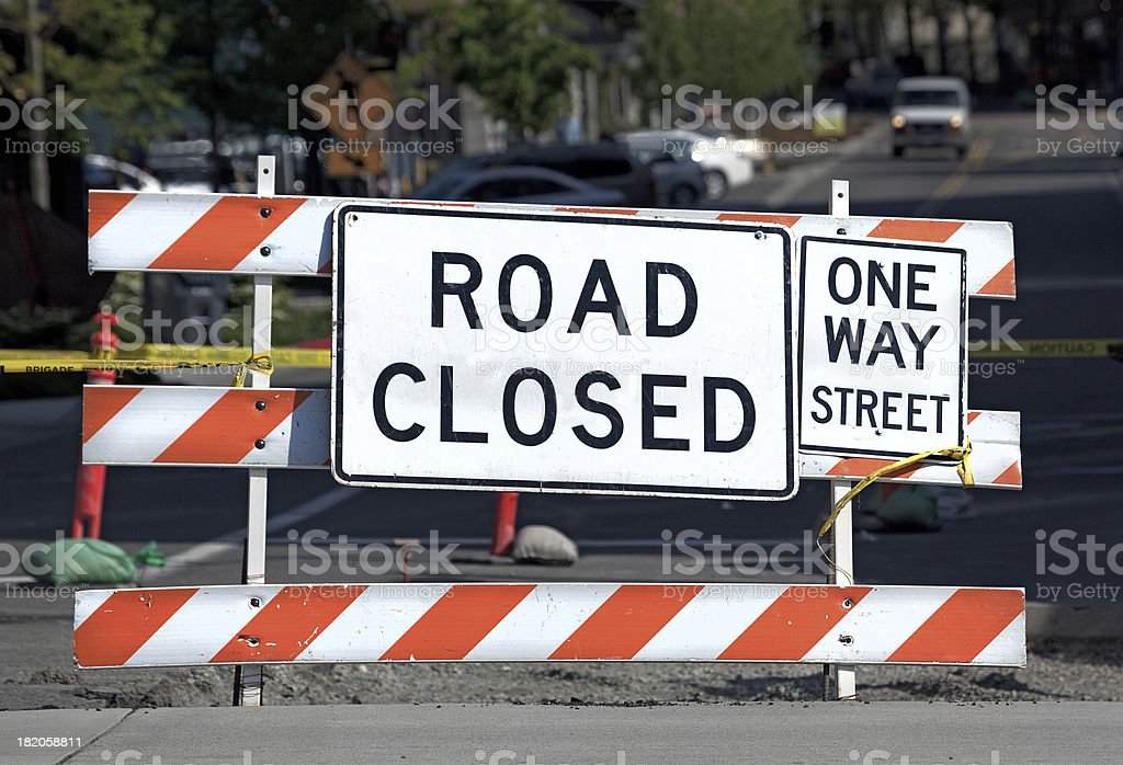 ROAD CLOSED - ONE WAY STREET royalty-free stock photo