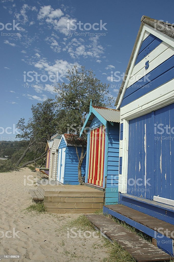 AUSTRALIAN BEACH HUTS royalty-free stock photo